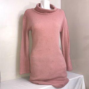 Baby Pink Turtleneck Ribbed Soft Long Sleeve Dress